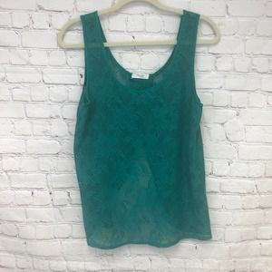Poetry Floral Sheer Lace Tank Top Size Medium